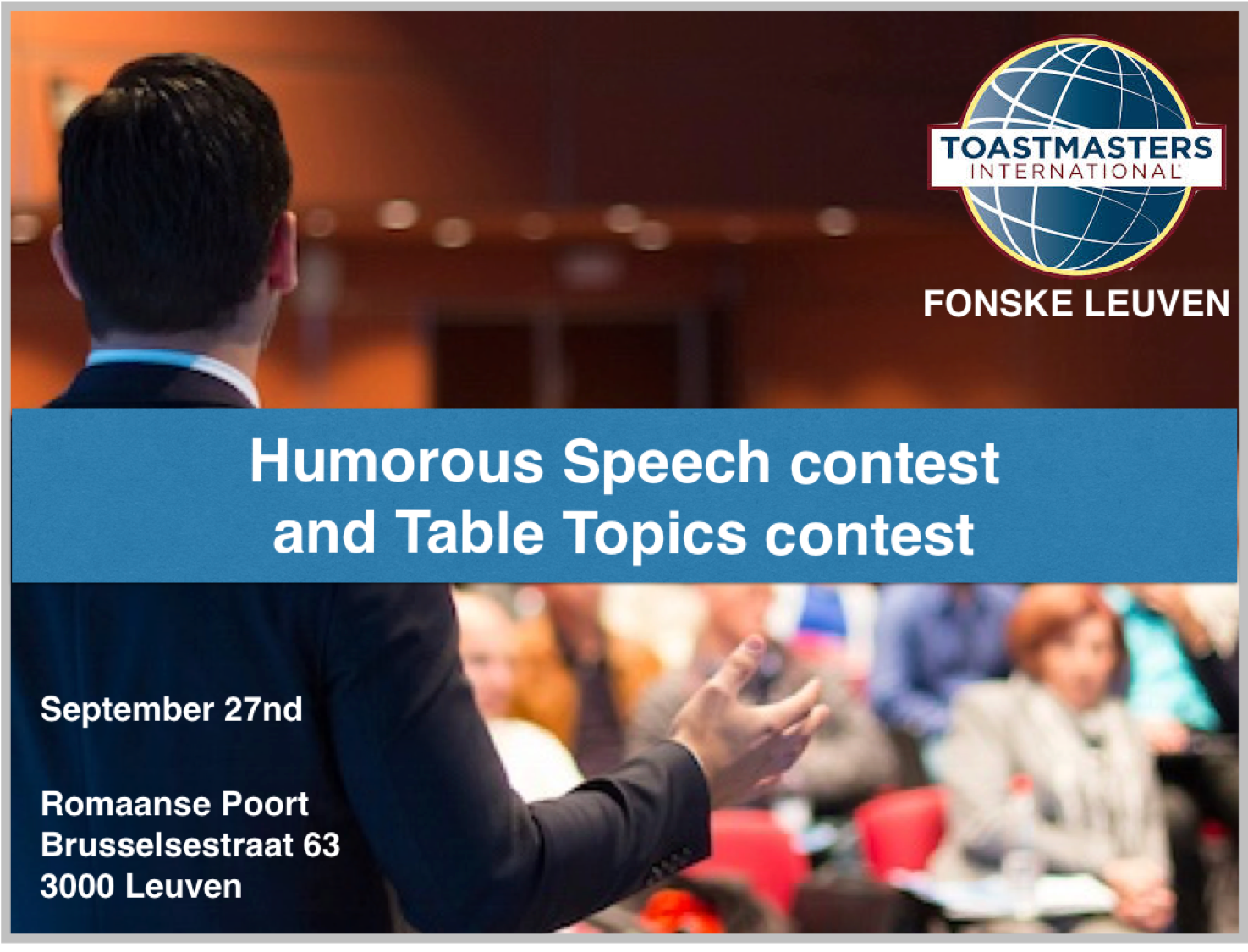 Humorous speech competition – Toastmasters Fonske Leuven