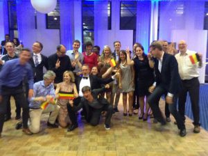 Belgian Toastmasters celebrating Daniel Mouqué's triumph in Luxembourg.